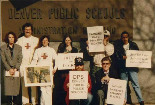 Anti-D.A.R.E. protest at the Denver Public Schools Administration building