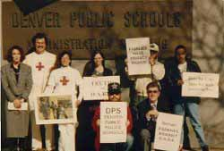 Anti-D.A.R.E. protest at the Denver Public Schools 